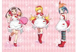 ハローキティカフェ×〈物語〉シリーズ 3人の女の子が特別コスチュームに 画像