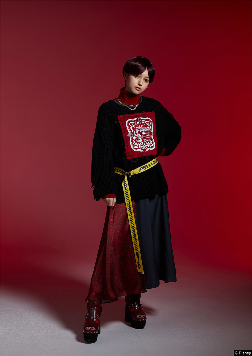 TW Oversized Knit Tops/7Dormitories Maxi Skirt/Scarabia Image Belt(C)Disney
