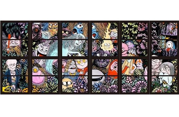 水木しげるの絵描く妖怪がステンドグラスに 米子鬼太郎空港にパブリックアート登場