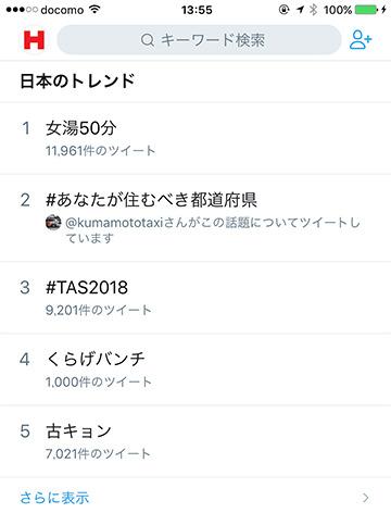 「古キョンは」1月12日13時55分頃、突如Twitterトレンドワードの「日本のトレンド」カテゴリーの5位に登場した。