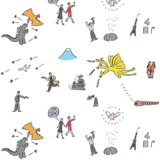 ゴジラ映画『三大怪獣 地球最大の決戦』コラボグッズ イラストTM&(C)TOHO CO.,LTD.