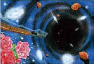 「漆黒の世界へ」(傘寿記念・新作版画、サイン入り)26×36cm 97,200円