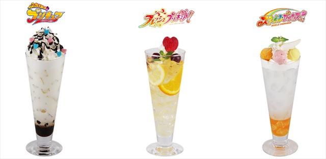 「プリキュア Music Cafe」コラボドリンク(前期:全 7 種) 各 700 円(C)ABC-A・東映アニメーション