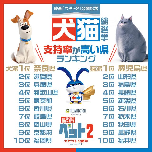 『ペット2』犬猫総選挙 県別上位(C)Universal Studios.