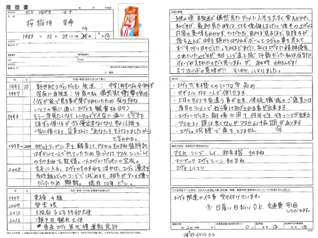 「エヴァ愛 No.1 選手権~わたしとエヴァンゲリオン~」エヴァ歴書参考例