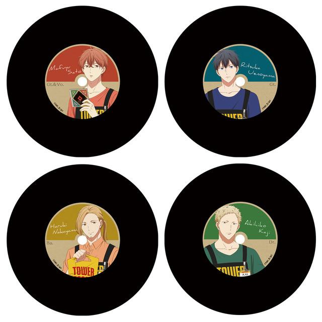 「TOWERanime presents『ギヴン × TOWER RECORDS』POP UP SHOP」ギヴン × TOWER RECORDS トレーディングレコードコースター(全4種)800円(税別)(C)キヅナツキ・新書館/ギヴン製作委員会