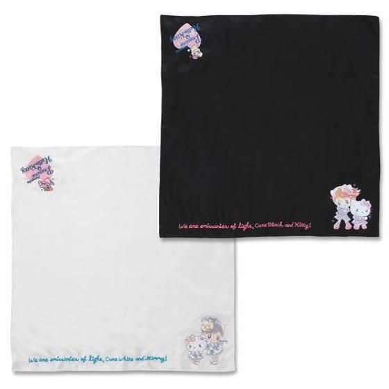 「ふたりはプリキュア×ハローキティ 刺繍スカーフ」ブラック/ホワイト:各9350円(C)ABC-A・東映アニメーション (C)1976, 2019 SANRIO CO., LTD. TOKYO,JAPAN