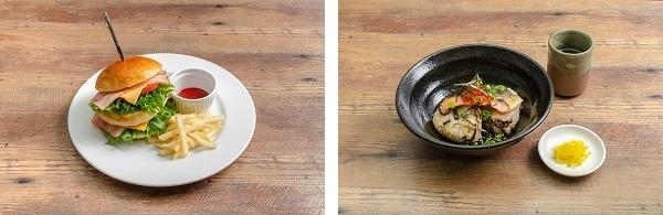 左:「虎杖のダブルインパクトバーガー」、右:「狗巻のおにぎりだし茶漬け」各1, 320円(税込)(C)芥見下々/集英社・呪術廻戦製作委員会(C)GENDA SEGA Entertainment Inc.