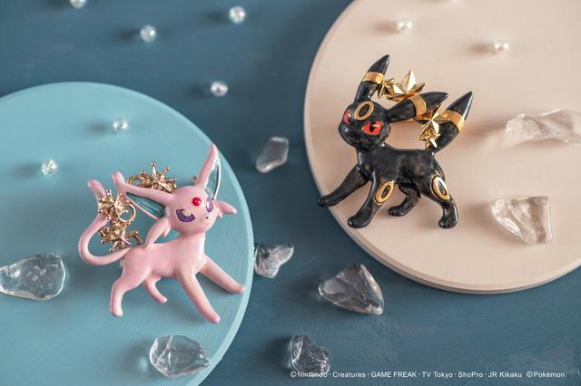 エーフィブローチ 4,730円(税込)/ブラッキーブローチ 4,400円(税込)(C)Nintendo・Creatures・GAME FREAK・TV Tokyo・ShoPro・JR Kikaku(C)Pokemon